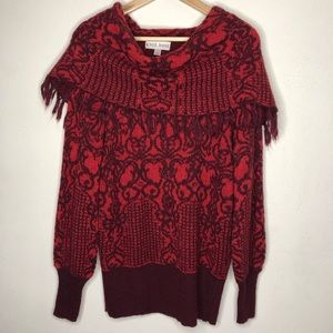 Knox Rose Cowl Neck Fringe Red Sweater